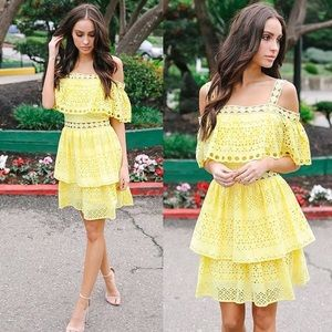 NWOT Vici Collection Lovebird Eyelet Tiered Dress